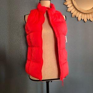 NEW Girls Neon Orange Puffer Vest Old Navy L 14